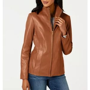Cole Haan Wing Collar Brown Leather Jacket